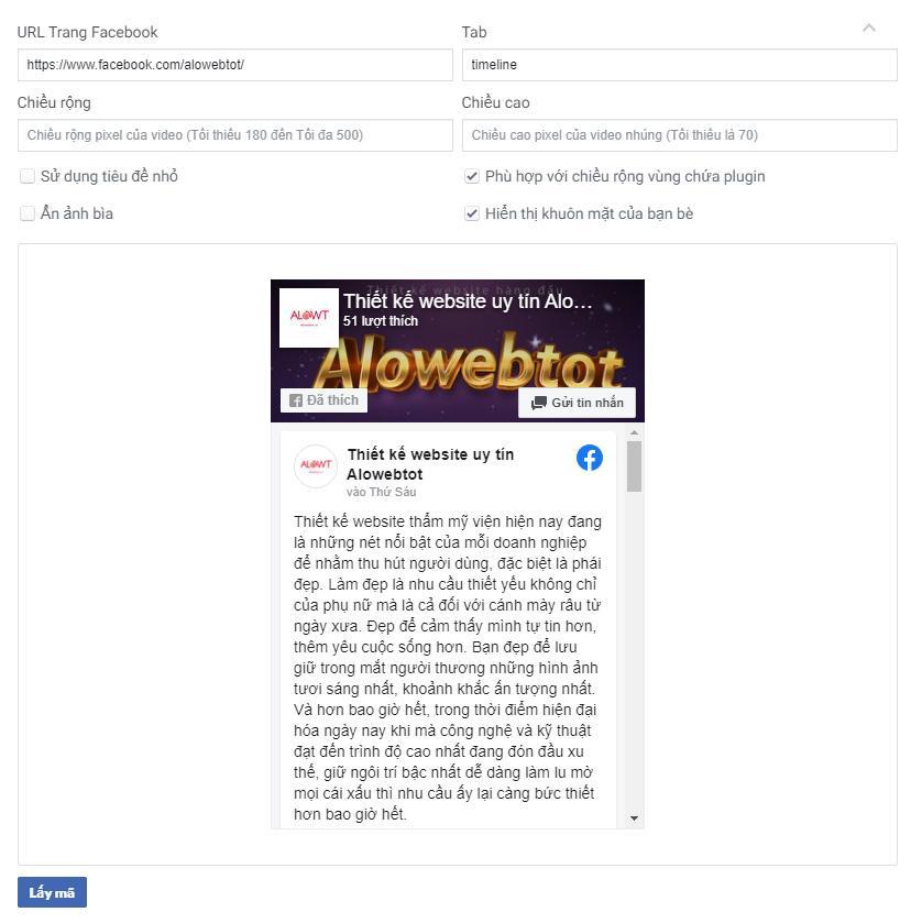 Chèn fanpage facebook vào website wordpress