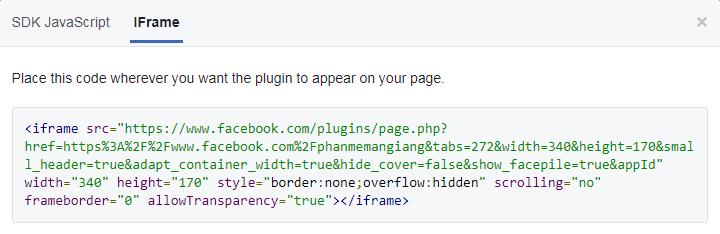 Chèn fanpage fb vào website