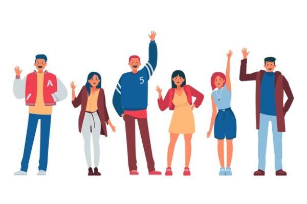 people waving hand illustration concept 52683 29825