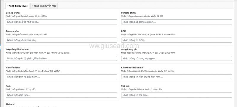 Giuseart.com Nhập dữ liệu vào Custom Field