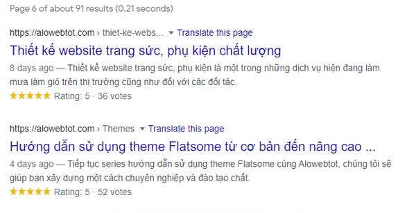 tăng độ tìm kiếm trên website bằng plugin đánh giá 5 sao cho website