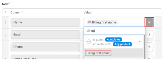 match spreadsheet order data