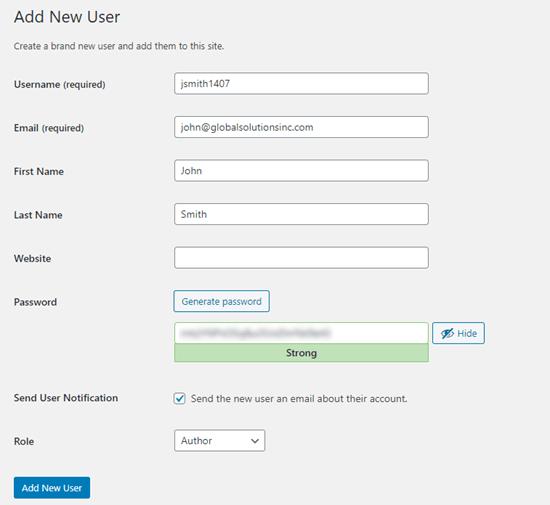 new user details wordpress