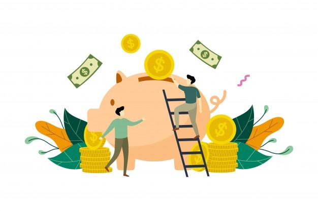 saving money with piggy bank concept illustration 135170 33