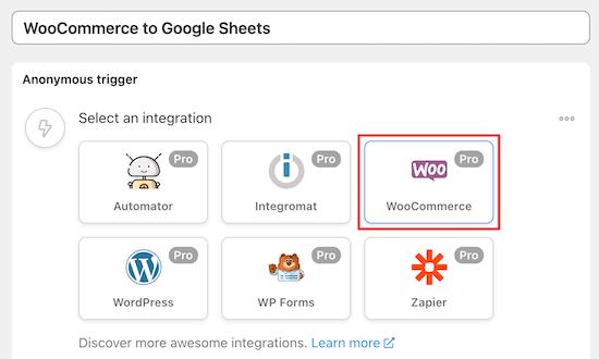 select woocommerce integration