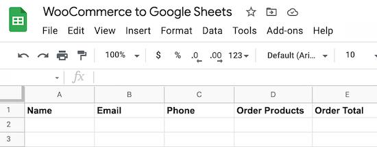 woocommerce to google sheets spreadsheet