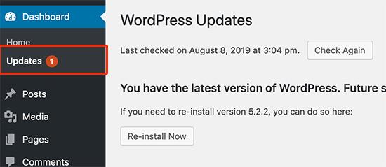 cap nhat wordpress